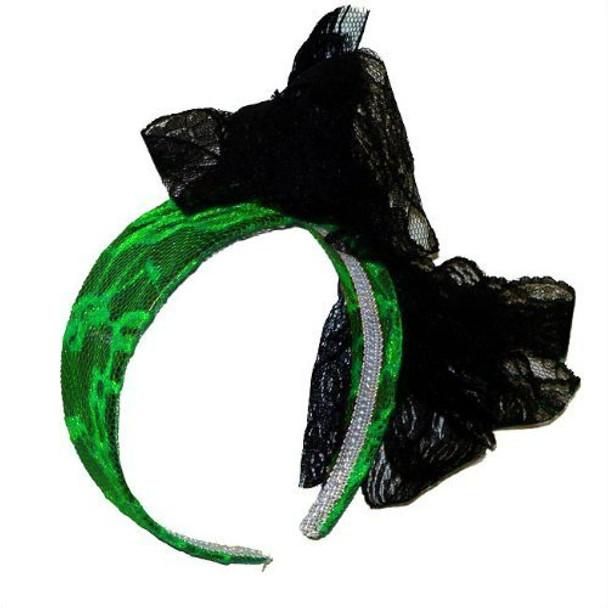 Green Lace Headband with Black Bow 6673