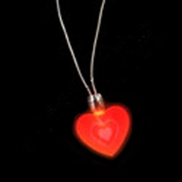 Heart Necklace Bulk   12 PACK LED Flashing Heart Necklace Deluxe  6568
