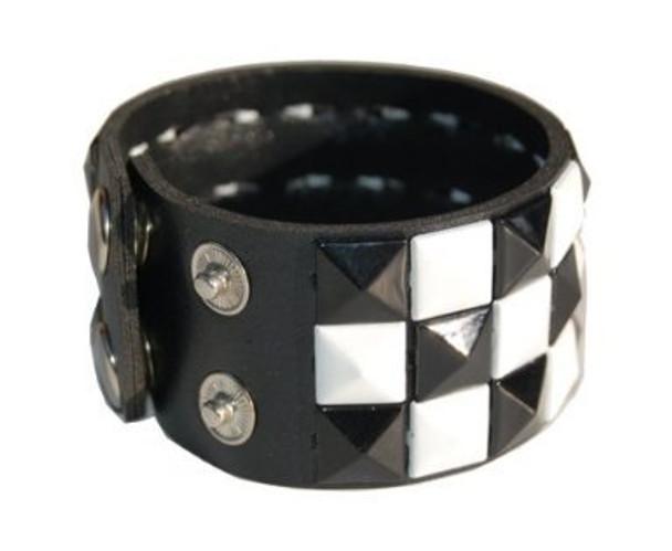 Studded Biker Wristband Black And White 6504