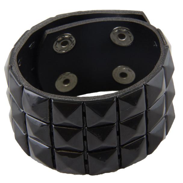 Studded Biker Wristband 3-Row Black 6505