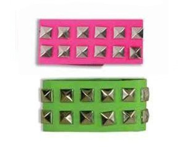 Green Wristband Neon Studded 6511