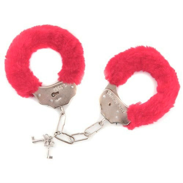 Red Furry Handcuffs | Red Wholesale Handcuffs | 1803 10 PACK