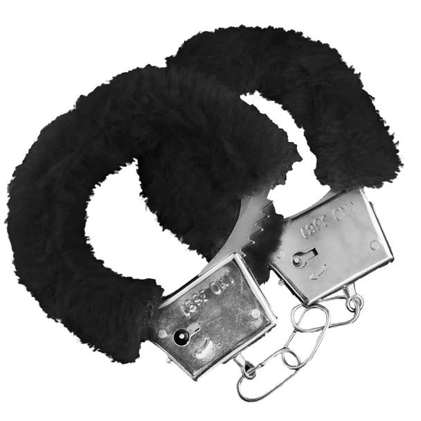 Black Furry Handcuffs   Wholesale Furry Handcuffs   1804 10 PACK