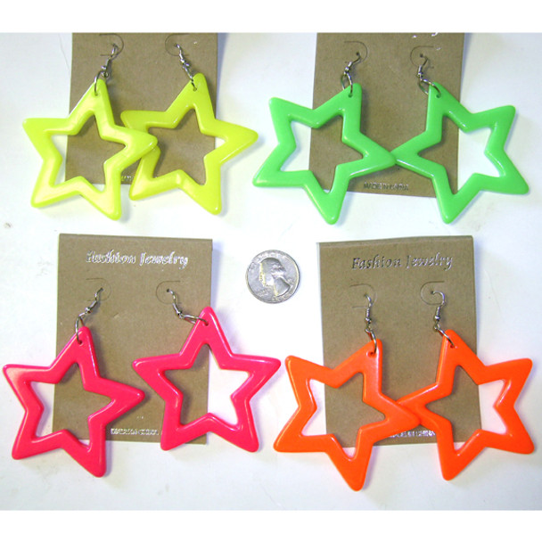 80's Star Earrings Mixed Colors Plastic 6537