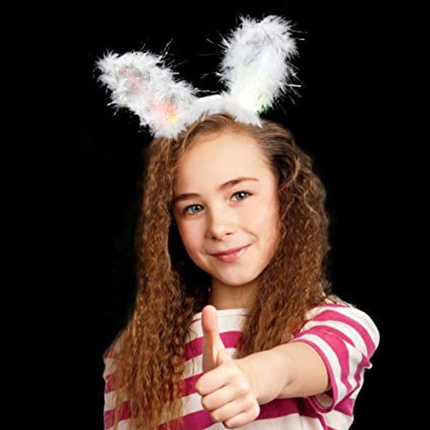 Flashing LED Easter Bunny Ears White Premium 1875