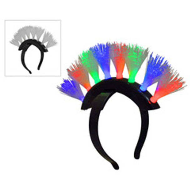 Flashing LED Mohawk Tri Color Headband 1882