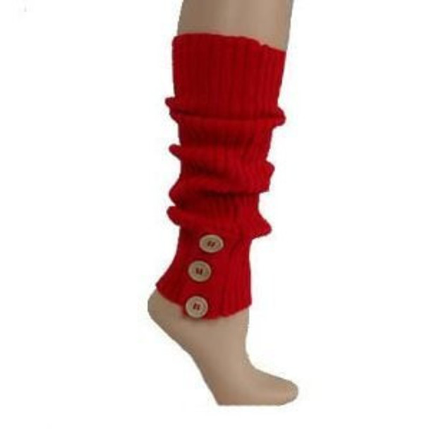 Red Knit Leg Warmers with Button Trim 1259