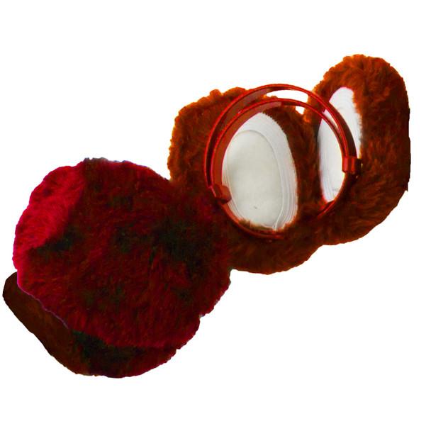 Red Furry Ear Warmers 6708