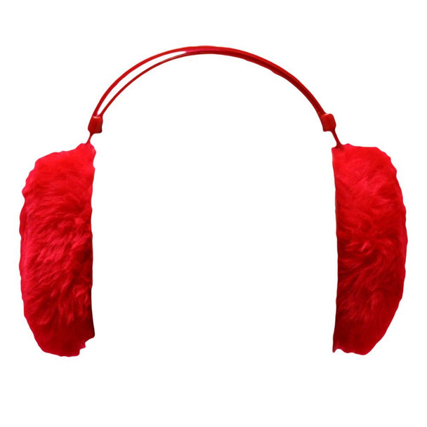 Red Furry Ear Warmers 6708