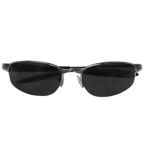 Sports Sunglasses Metal Silver Low Profile Half Frame/Smoke Lens 1119