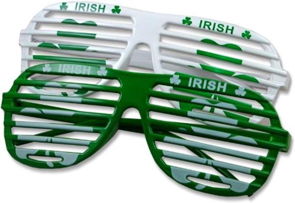 St Patricks Day Glasses Green Shamrock Irish Shutter Shades 1167