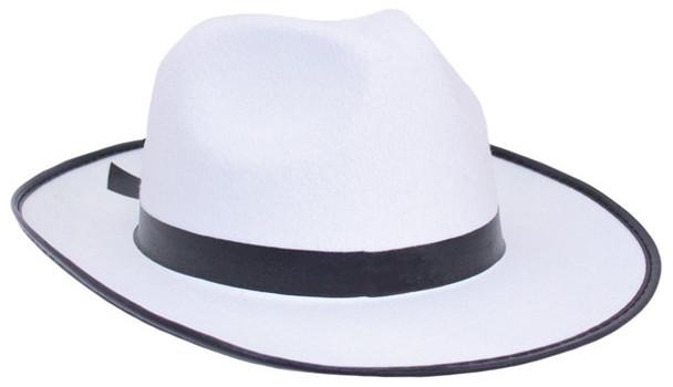 Gangster Hat White Wide Brim Felt Fedora | White Gangster Hats