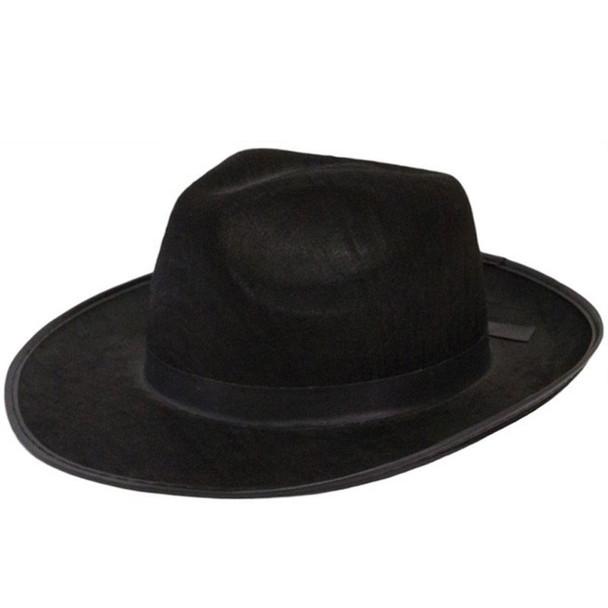 Mens Wide Brim Fedora Hats   Black Wide Brim Hat   Flat Brim Fedora