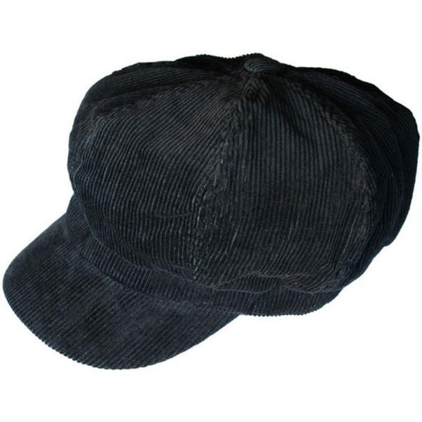 Black Corduroy Newsboy Cap  Adult  1411