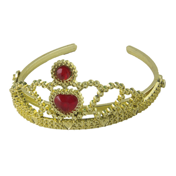 Gold Princess Tiara with Heart Stone 1451