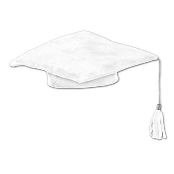 White Plush Graduation Hat 1487