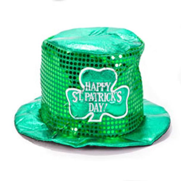 Irish Costume Hat Green St Patricks Sequin Top Hat 5853