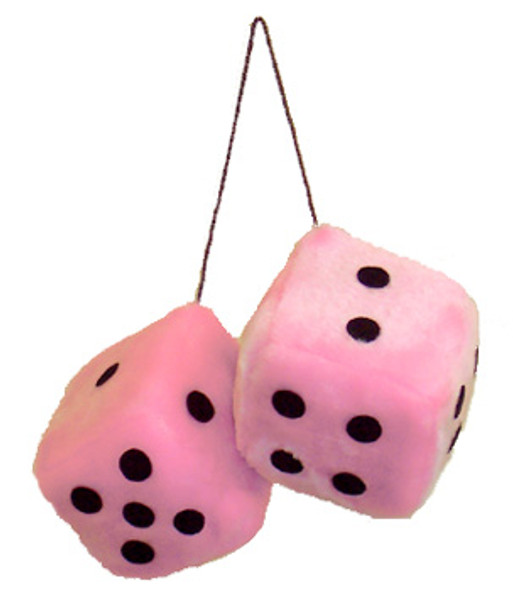 """Pink Fuzzy Dice on String 3""""  1657"""