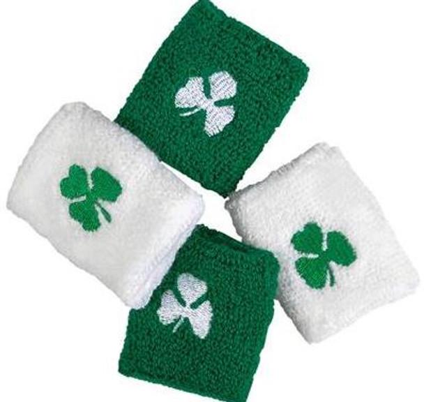 12 PACK White/Green Mix Irish Terry Wristband with Shamrock 3078