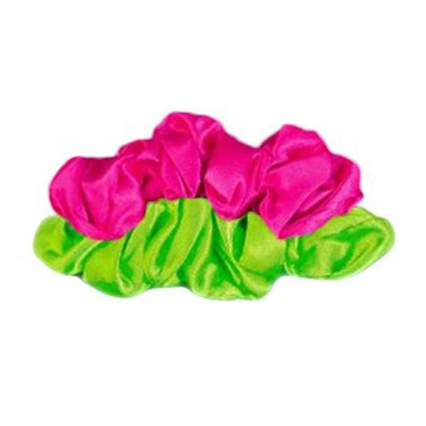 80's Scrunchies 2-Pack Neon Pink and Neon Green 6661