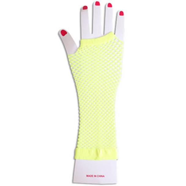 Fishnet Gloves Long Yellow 1243