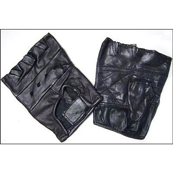 Biker Fingerless Black Leather Gloves 5005