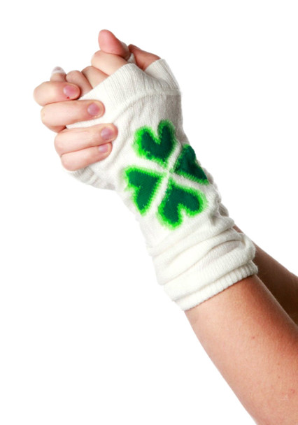 St Patrick's Four Leaf Clover Green on White Armwarmers 5200