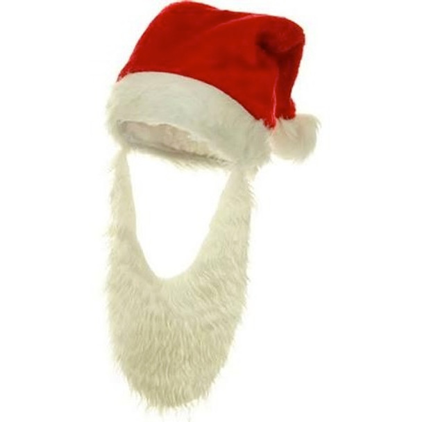 Santa Hat with Attached Beard 12 PACK 1439