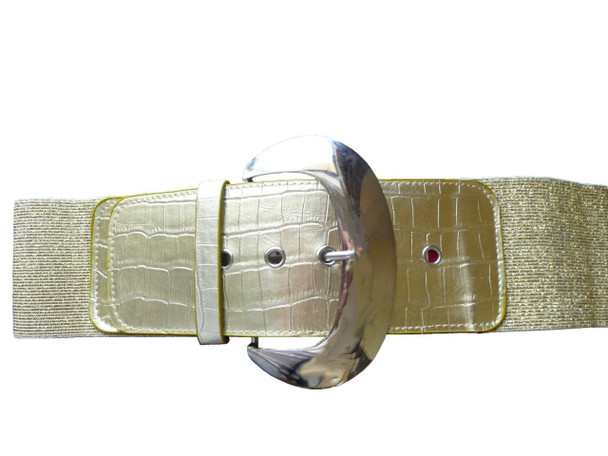 "Gold 3"" Wide Cinch Croco Embossed Elastic Stretch Belt 2831"