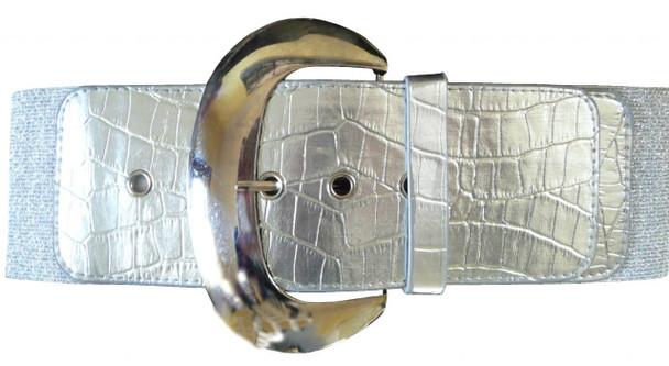 "Silver 3"" Wide Cinch Croco Embossed Elastic Stretch Belt 2833"