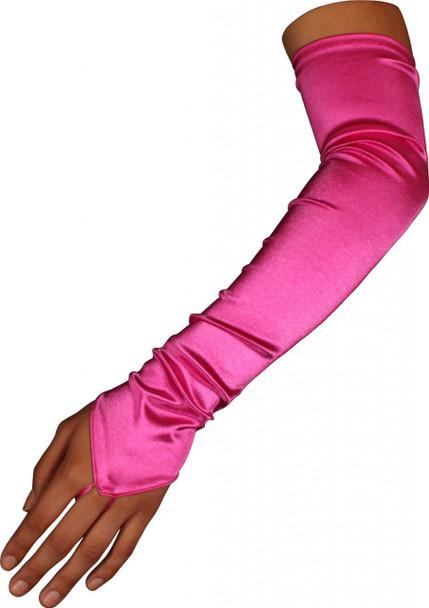 Hot Pink Satin Gauntlet Fingerless Gloves 12 PACK 5087