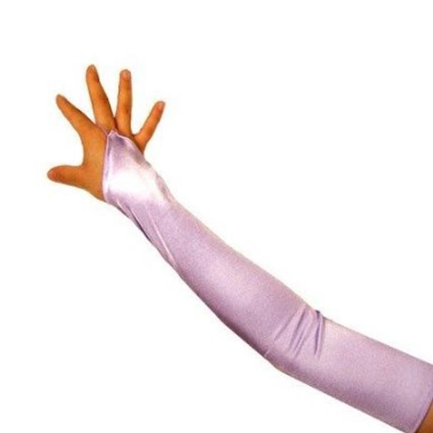Lavender Satin Gauntlet Fingerless Gloves 12 PACK 5088