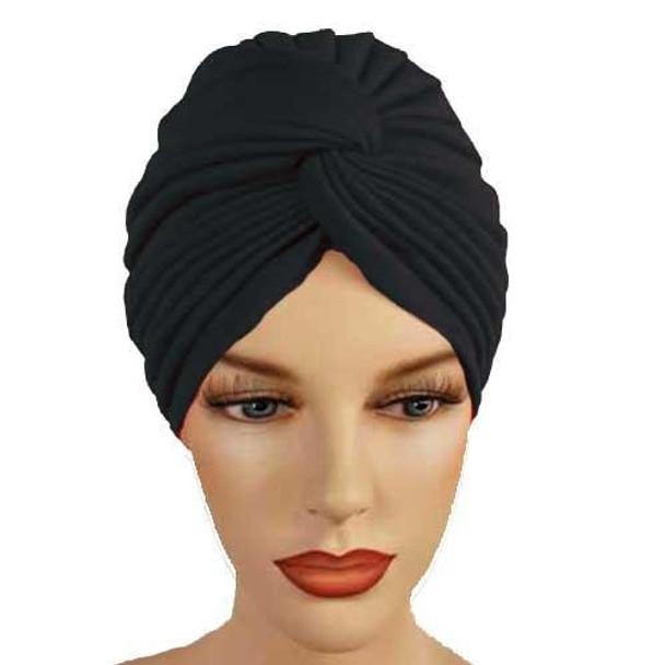 12 PACK Black Turban Head Cover Hat