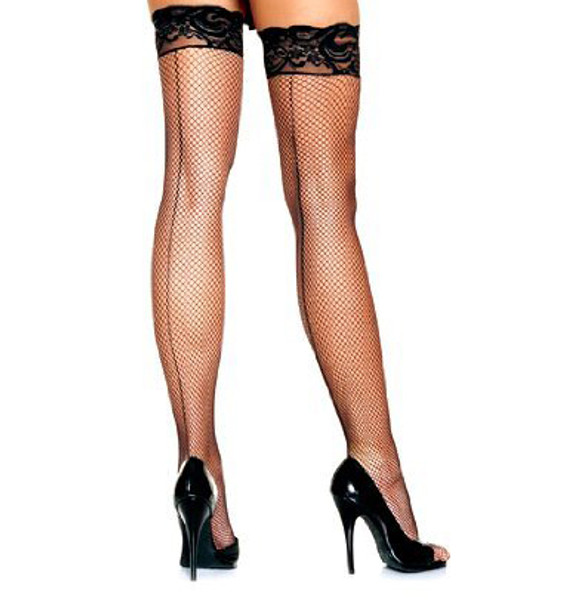 Black Fishnet Thigh High Stockings with Lace Top 8035