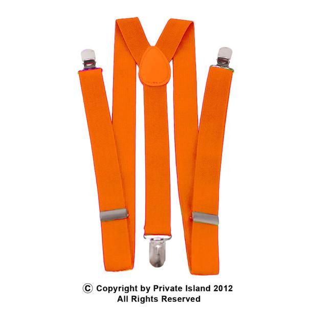 Orange Suspenders Clip On Elastic 1282