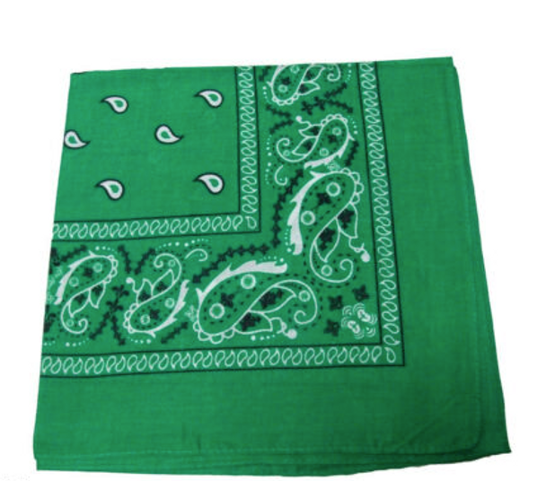 "12 PACK Green Paisley Bandanna 22"" Square Standard 100% Cotton 1930DZ"