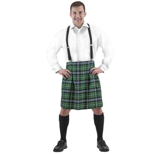 St Patricks Day Adult Green Plaid Kilt 4487