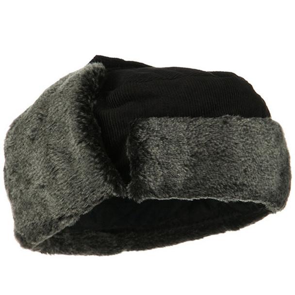 Black Corduroy Winter Hat with Grey Fur 5829