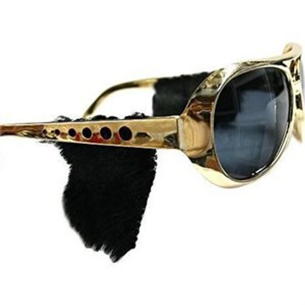 Rockstar Gold Frame/Black Lens Sunglasses with Sideburns 12 PACK 7299