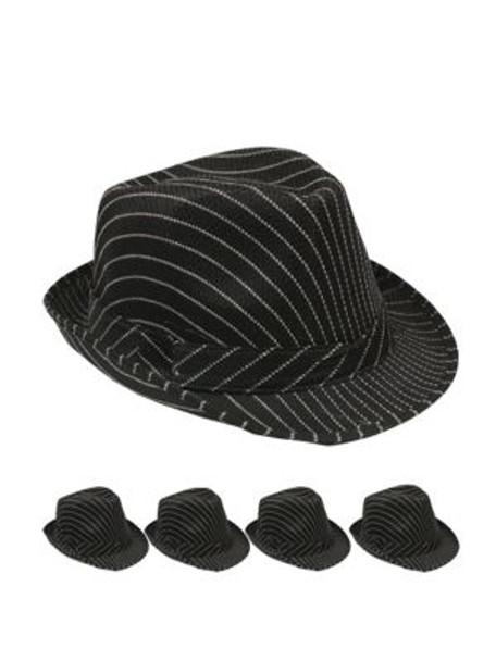 Black Funky Fedora Hat - 12 PACK Felt Adult Size