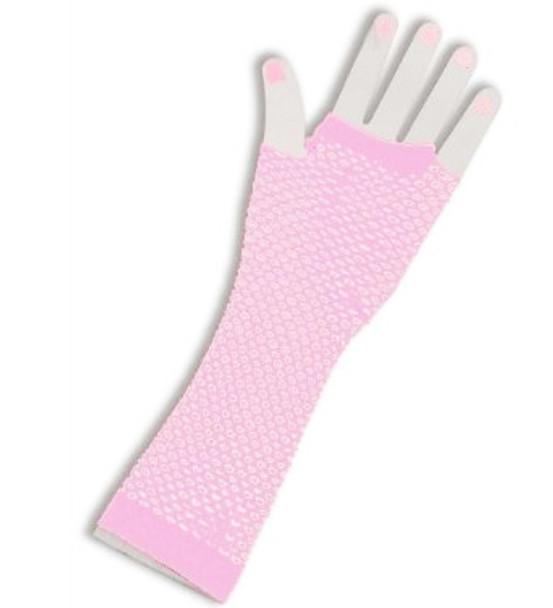 Fishnet Gloves Long Light Pink 1248