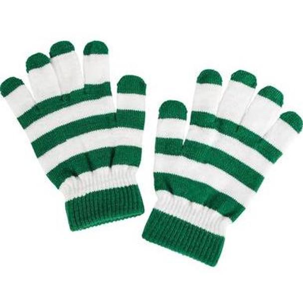 St. Patricks Day  Green/White Striped Magic Gloves 12 PACK