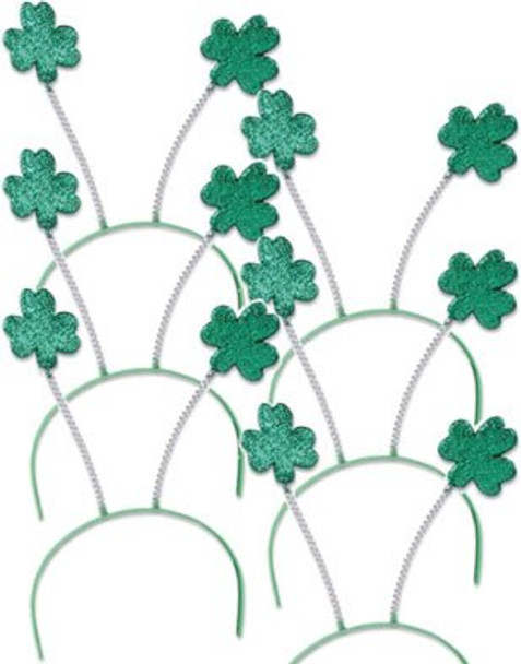 St. Patricks Day Green Shamrock Head Boppers 12 PACK 1871D