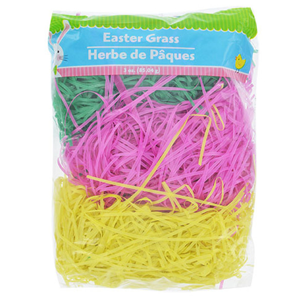 Easter Green & Pink Basket Grass Assorted Colors 1859