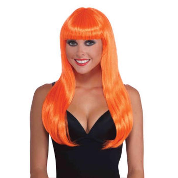 80's Neon Orange Long Wig With Bangs 6078