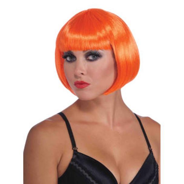70's Neon Orange Bob Wig Short Wig Supermodel  6075 12 PC Minimum