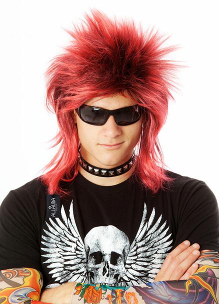 80's Black Punk Rocker Billy Idol Costume Wig Red/Black 6091