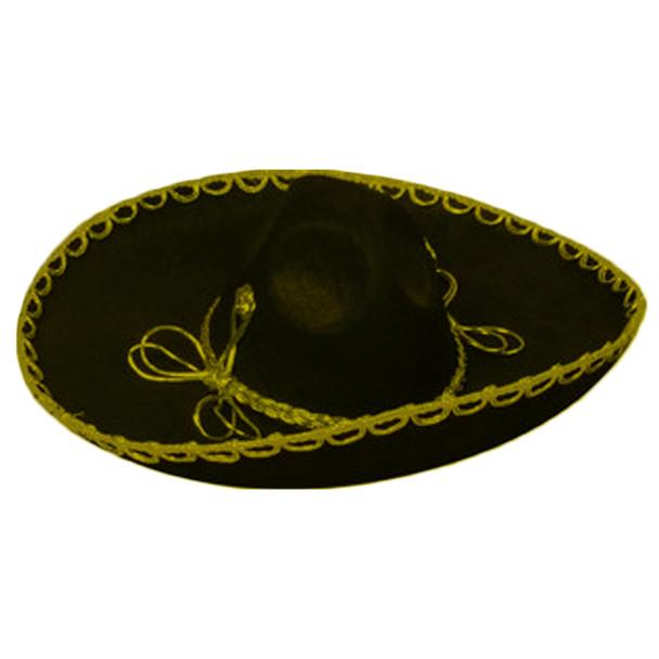 Black/Gold Mini Mariachi Sombrero Hat 6663