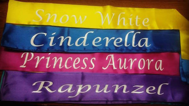 "Custom Pageant Wedding Light Pink Satin Sashes Satin Quality 60"" 6858 (Fonts in Picture Gallery)"