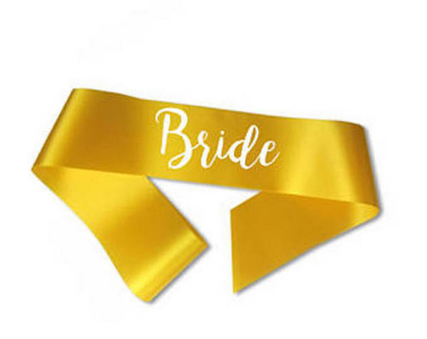 "Custom Pageant Wedding Yellow Satin Sashes 60"" 6861 (Fonts in Picture Gallery)"